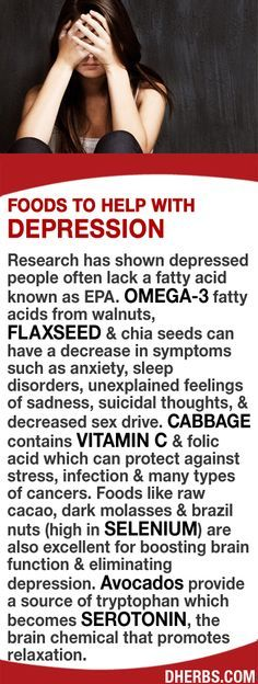 Studies show depressed people often lack a fatty acid known as EPA. Omega-3 from walnuts, flaxseed & chia seeds can help decrease anxiety, sleep disorders, feelings of sadness, & suicidal thoughts. Vitamin C & folic acid in Cabbage can protect against stress & many types of cancers. Foods like raw cacao, dark molasses & brazil nuts (high in selenium) are excellent for boosting brain function & eliminating depression. Avocados provide tryptophan which becomes serotonin, which promotes…