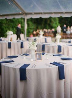 simple navy and white wedding table decor    Photography: Virgil Bunao Fine Art Weddings, via Style Me Pretty