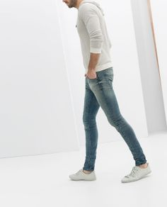 DENIM TROUSERS WITH KNEE PATCH from Zara