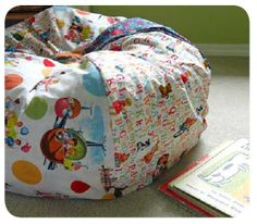 Fabric Crafts - A Bean Bag Chair. Cover it with pretty fabric for a grown up bean bag chair in the living room! Make A Bean Bag Chair, How To Make A Bean Bag, Diy Bean Bag, Bean Bags, Fabric Crafts, Sewing Crafts, Sewing Projects, Sewing For Kids, Diy For Kids