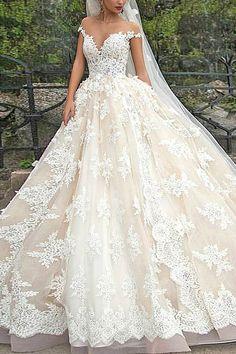 Stunning V-Neck Cap Sleeves Ball Gown Floor Length Wedding Dress                                                                                                                                                                                 More