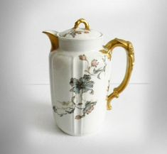 Haviland Limoges chocolate pot or teapot with floral and gold designs - ca 1900