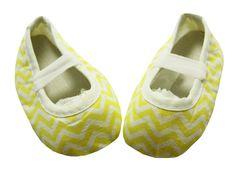 Yellow Chevron Print Crib Shoes
