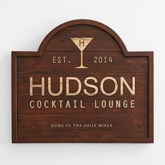 cocktail lounge wooden sign | a home bar isn't complete without an official sign personalized with your name | bar gifts
