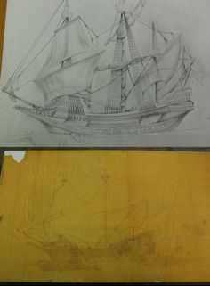 My artist Todd Groff is here working on a restoration for me. He is re-constructing a treasure ship that my grandfather salvaged in 1979. A National Geographic artist drew the bottom picture but it suffered years of smoke damage from not being properly stored, so Todd is re-creating it from scratch.