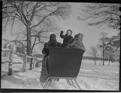 Lucian and Mary Brown, Untitled (family on sleigh ride, child waving), c.1950, Harvard Art Museums/Fogg Museum