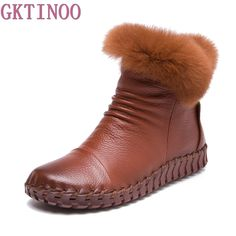 10d3b680e3a4 Handmade Women s Winter Boots Women Real Fur Winter Shoes Woman Genuine  Leather Warm Ankle Snow Boots