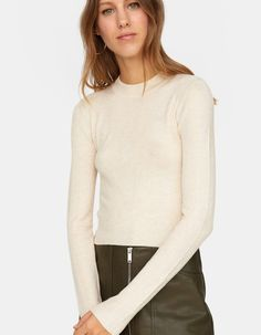 0e44131eb2 Ribbed high neck sweater - Knitwear