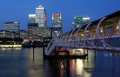 The popular Canary Wharf area lit at night!