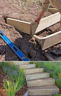 How to Build Outdoor Stairs | This garden stair design can be adapted to suit your site.