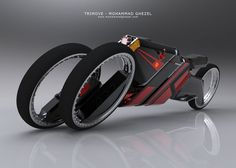 "Illusion: ""Trimove"" is a concept design for an electric and aerodynamic motorcycle by Mohamad Qazal. Link via Yanko Design and Car Body Design. http://illusion.scene360.com/design/17523/the-hubless-trike/"