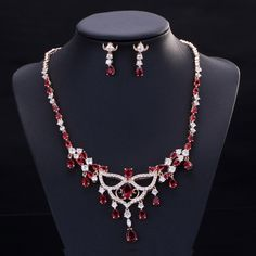 ThreeGraces Luxury Indian Red CZ Diamante Jewelry Gold Color Austrian  Crystal Big Dangle Necklace Earrings Set For Women c58ccd782fa5