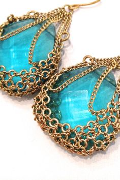 Sexy Aquamarine Chaimail Caged Earrings