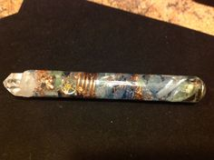 $65.00   An alternative way to cleanse and prepare sacred space perhaps?  Powerful Orgone ASG Wand with Phenacite, Green Calcite, Rhodizite, 7 in long by 1 in wide