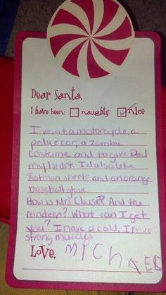 Letter to Santa from my 4 yr old. Obviously his muscles are important to him! Lol!