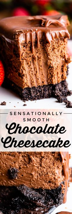 Sensationally Smooth Chocolate Cheesecake from The Food Charlatan. This silky smooth chocolate cheesecake may be the most decadent dessert you ever eat! The texture is perfection. A half inch of Oreo crust and a thick layer of creamy ganache means this is Valentine Desserts, Mini Desserts, Dessert Recipes, Egg Recipes, Chocolate Cheesecake Recipes, Low Carb Cheesecake, 6 Inch Cheesecake Recipe, Best Chocolate Cheesecake, Oreo Crust Cheesecake