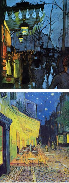 Top. Louis Aquetin 1887. Avenue de Clichy. Bottom. Vincent Van Gogh 1888. Café Terrace at Night.
