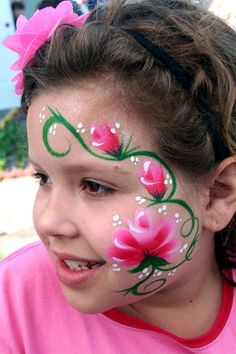 Face Painting- One stroke Roses Monster Face Painting, Girl Face Painting, Face Painting Designs, Painting For Kids, Paint Designs, Face Paintings, Face Painting Flowers, Cool Face Paint, Cheek Art