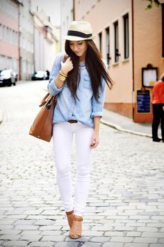 Spring / summer - street & chic style - white skinnies + chambray shirt + brown accessories + panama hat