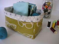 Oilcloth storage bins