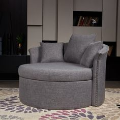 Willa Arlo Interiors Jeanne W Barrel Chair Upholstery Colour: Gunmetal Grey Swivel Barrel Chair, Papasan Chair, Chair And A Half, Shop Interiors, My Living Room, Side Chairs, Armchair, Loveseat Sofa, Chair And Ottoman