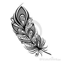 Illustration about Peerless Decorative Feather (Vector), Patterned design, Tattoo. Illustration of illustration, objects, decoration - 36236107 Peacock Feather Tattoo, Feather Drawing, Feather Vector, Feather Art, Feather Tattoos, Bird Feathers, Tattoo Bird, Tribal Tattoos, White Bird Tattoos