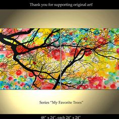 Tree Painting Flowers Original Modern Landscape Abstract Large