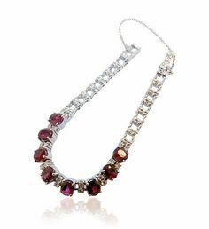 Ruby Brilliant Bracelet  Rubin-Brillant-Armband mit 0,942ct Brillanten, 8,456ct Rubine in 750 Weißgold