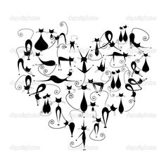 Vector Images, Illustrations and Cliparts: I love cats! Black cats silhouette in heart shape for your design Crazy Cat Lady, Crazy Cats, Black Cat Art, Black Cats, Black Cat Silhouette, Silhouette Vector, Silhouette Images, Silhouette Design, Inkscape Tutorials