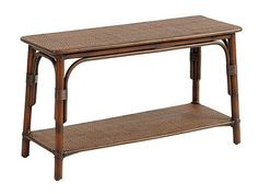 """Bonaire Bench by Ballard Designs - $149. The warm color is right, and the dimensions of the large size are perfect: 18 1/4""""H X 32""""W X 12""""D Not sure the style goes with the Shelby chest and wave mirror, though."""