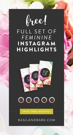 Are you taking advantage of the Instagram Highlights feature to brand your Instagram account? Swipe these FREE Highlights covers to create a beautiful, feminine, cohesive look and brand your 'gram instantly. PLUS six other styles! #instagram #socialmedia #socialmediamarketing #templates #instagramtemplates #freebies