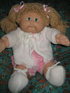 Vintage Cabbage Patch Kid Doll Girl. Here's Marnie, but she had a yellow jumpsuit.