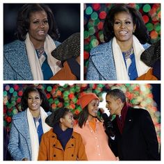 Mrs. Michelle Obama wears Tom Binns Design Regal Rocker Crystal and Pearl Necklace to the National Christmas Tree Lighting!