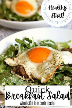 With plenty of protein and healthy greens, this breafast will make a believer of salad for breakfast!!! Paleo Breakfast Cookies, Healthy Egg Breakfast, Breakfast Salad, Whole 30 Breakfast, Gluten Free Recipes For Breakfast, Whole 30 Recipes, Real Food Recipes, Healthy Recipes, Free Breakfast
