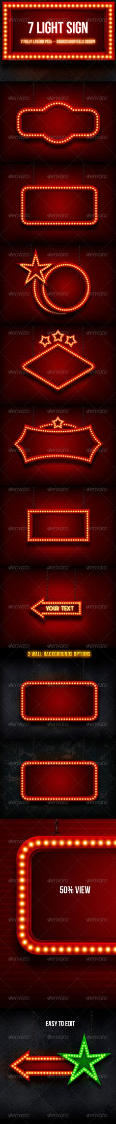 Light Sign  #billboard #signboard #backdrop • Click here to download ! http://graphicriver.net/item/light-sign/5223354?ref=pxcr
