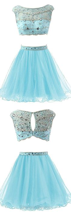 Two Piece Homecoming Dresses, Blue Party Dresses, Cheap Prom Dresses, Beading Girls Graduation Dress, Cute Cocktail Dresses