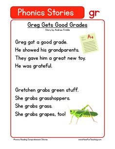 This Reading Comprehension Worksheet - Greg Gets Good Grades is for teaching reading comprehension. Use this reading comprehension story to teach reading comprehension.