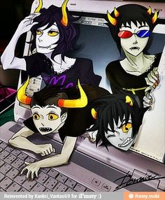 Feel free to come out of my computer!!! Gamzee, I can't lift him. Will you help Tavros? :0) There's a Faygo for you if you do.