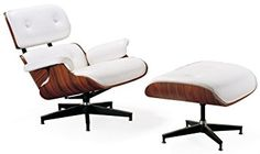 Mid Century Modern Classic Rosewood Plywood Lounge Chair & Ottoman With White Premium High Grade PU Leather Eames Style Replica