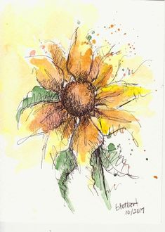 "Original artwork of a sunflower rendered in pen, ink and watercolor. It is titled ""A Sunny Sunflower"" and is signed and dated at the bottom with the title on the back. The petals of the sunflower are painted in warm gold and brown colors with a hint of burnt sienna and red orange."