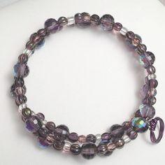 *sold* ladies beadwork bracelet Violet purple Memory Wire by DonnaDStore, $24.00
