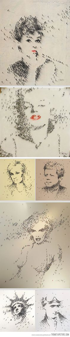 American artist Craig Alan creates unique portraits of pop-culture icons using people as pixels.