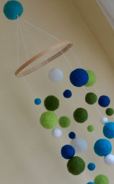 Needle Felted Gumball Mobile  Blues Greens and by jacksbeanstalk, $60.00