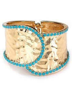 Cara Accessories Overlap Gold Hinge Stone Cuff 177703db831e0