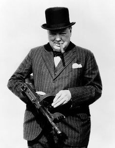 Morale boost: Winston Churchill with the Thompson submachine gun in the dark days of 1940