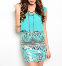 Mint Aztec Dress #hellospring #lovely #tildys