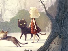 A girl and 2 cats