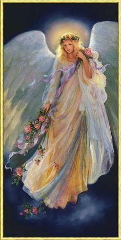"""The Messenger Of Love- by Mary Baxter St. Clair-""""God's Messenger offers the gift of roses to symbolize his unfailing love. We need only to open up our hearts and minds to accept this precious gift."""""""