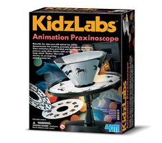 "An inspiring optical science kit for kids! Rebuild a 100-year-old optical toy that demonstrates the working principle of modern animations. View animation discs provided and be amazed how still pictures come alive. This set comes with an LED lamp which ""flashes"" like early movies! [STEM project, STEAM activity, kids arts and crafts, learning, preschool, elementary, homeschool, K12, education toy]"