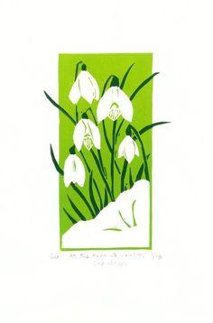 Snowdrops reduction linocut original print, Sharon Williamson